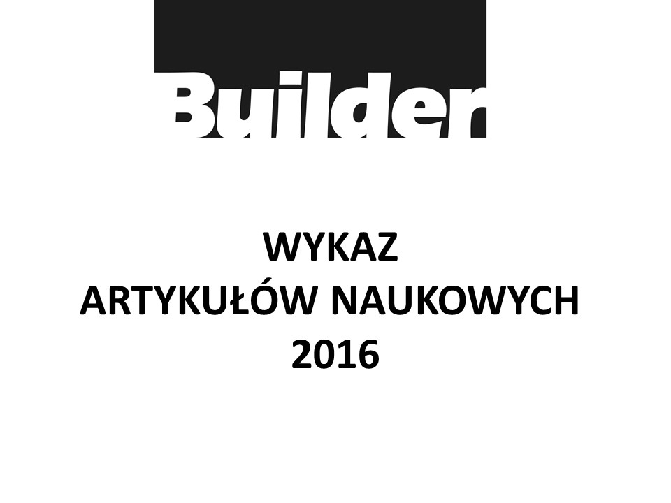 WYKAZ ARTYKUŁÓW NAUKOWYCH 2016