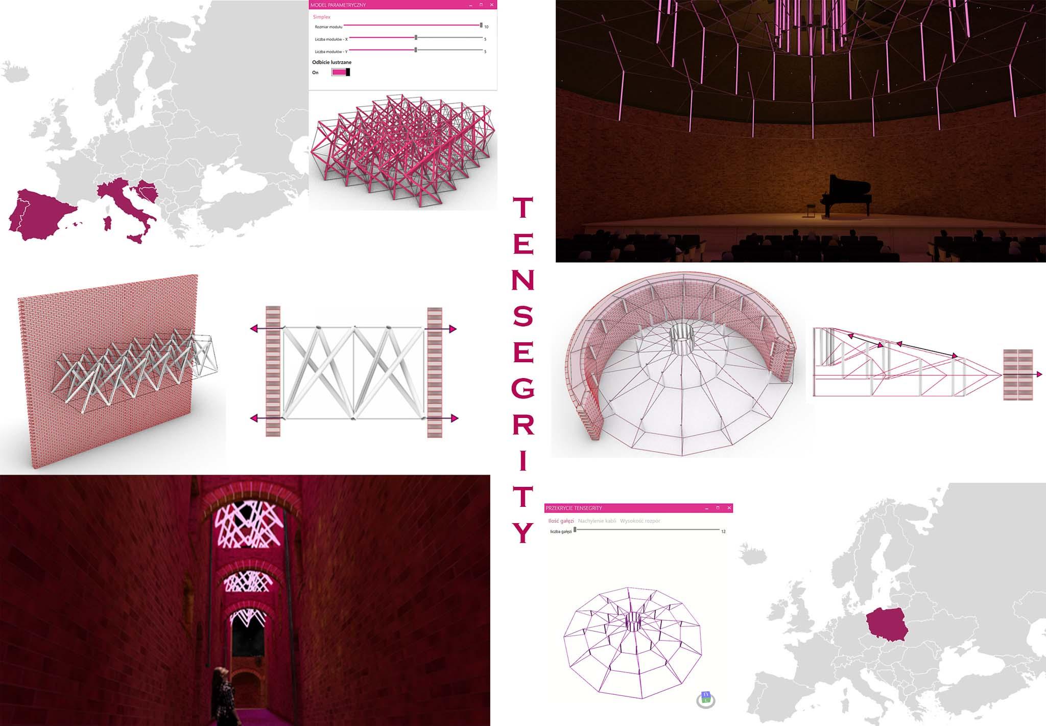 Konstrukcje tensegrity w obiektach historycznych, projektowanie parametryczne i optymalizacja