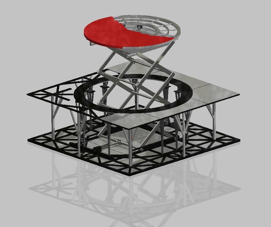 Konstrukcja dwumodułowej sceny obrotowej o ruchu współbieżnym i przeciwbieżnym