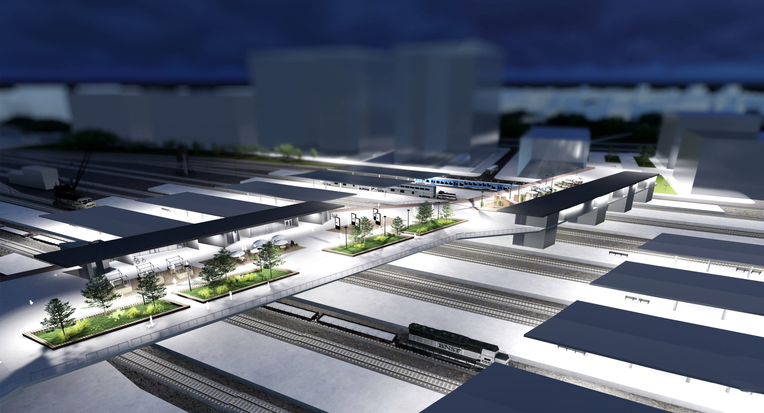 Projekt kładki integrującej tereny wokół Dworca Zachodniego