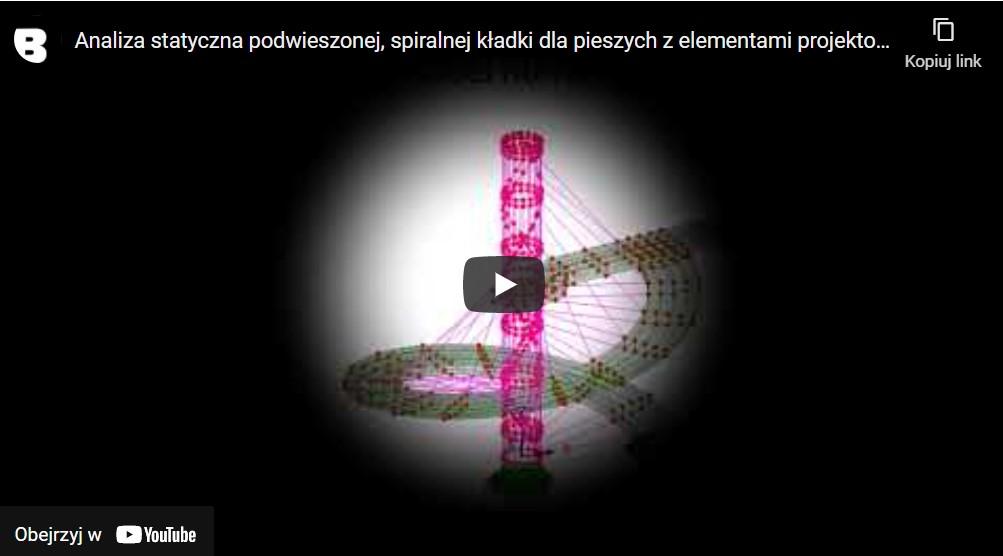 Analiza statyczna podwieszonej, spiralnej kładki dla pieszych z elementami projektowania